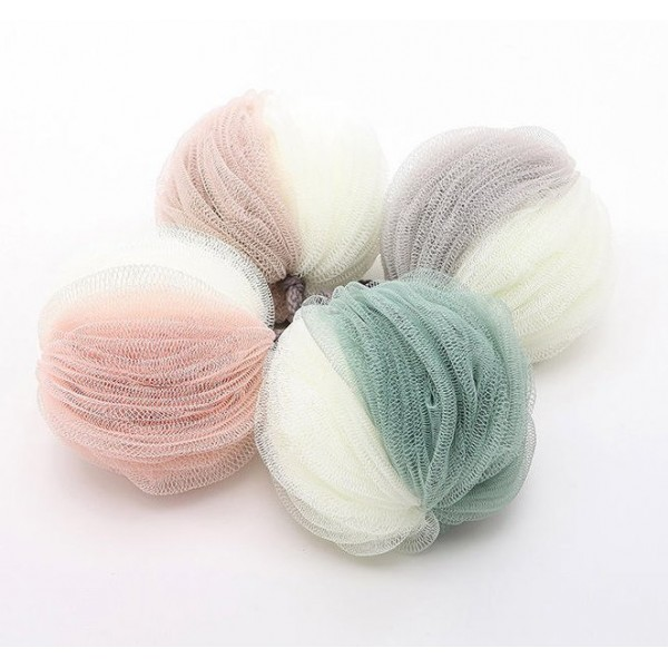 Two-color stitching soft bath ball with rope hanging type Easy dry moisture proof toiletries Fine silk screen bath ball