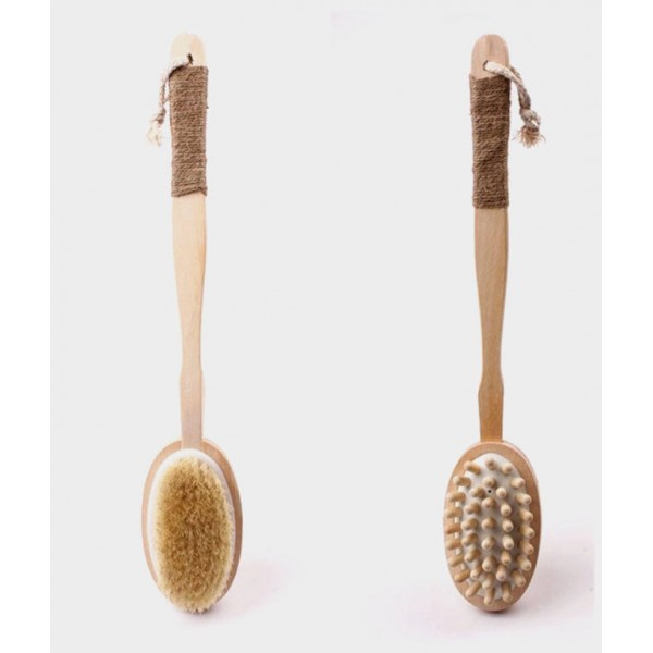 Double-sided long handle bristle bath brush bath brush massage bristle brush solid wood massage bead bath brush factory direct