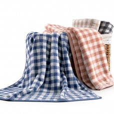 Factory direct 觥 Japanese cotton absorbent towel small plaid dark home supplies men and women bath towels