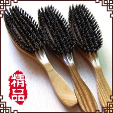 Factory wholesale High-end gift box Natural green sandalwood bristle comb Wild boar hair brush Yu Tan hair comb