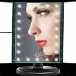 LED makeup mirror export excellent three-sided folding touch induction magnifying glass tri-fold dressing mirror light mirror